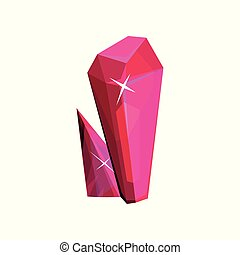 Magenta mineral crystalic precious stone, crystal gem vector Illustration on a white background