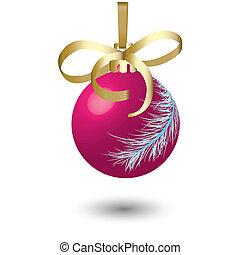 Magenta New Year\'s ball.Vector illustration