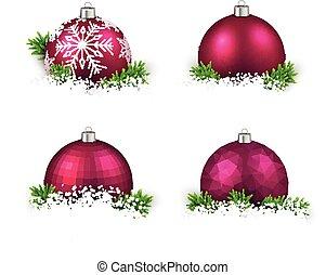 magenta, realistisk, sätta, jul, balls.