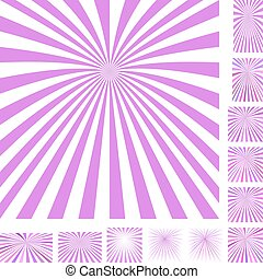 Magenta white ray burst background set