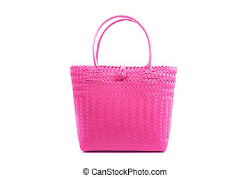 magenta wicker woman's tote bag, isolated - magenta close up...