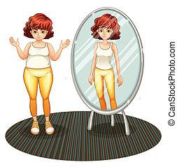 magere, meisje, dik, reflectie, haar