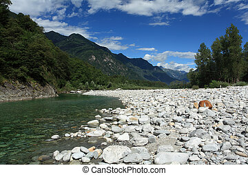 Photo of the Maggia river in the Maggia Valley, Ticino Switzerland.