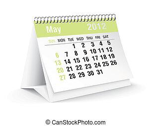 maggio, calendario, 2012, scrivania