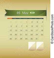 maggio, calendario, disegno, 2013, nastro