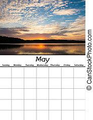 maggio, calendario, vuoto