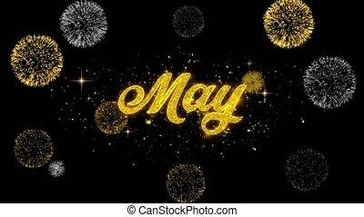 maggio, dorato, testo, lampeggiamento, particelle, con,...