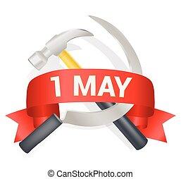 maggio, lavoratore, augurio, text., augurio, illustrazione, falcetto, giorno, vettore, 1, internazionale, lavoro, martello, template., arco, celebrazione