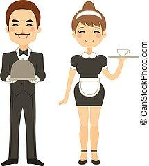 maggiordomo, domestica, servire