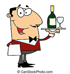 maggiordomo, maschio, servire, caucasico, vino