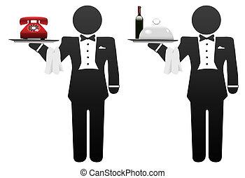 maggiordomo, servo, servizio in camera, cibo, telefono, su,...