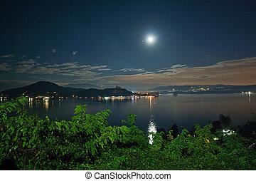 maggiore, lago, noche