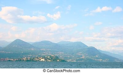 Maggiore lake, Alps and sky. Beautiful landscape, summer....