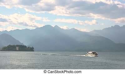 Maggiore Lake and Alps, summer. Beautiful landscape, Italy.