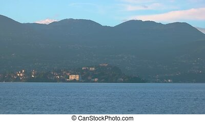 Maggiore lake and Stresa, summer. Alps and blue sky.
