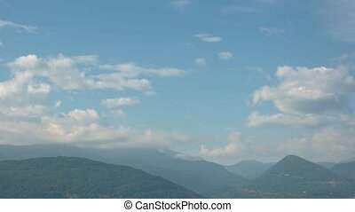 Maggiore lake, Stresa and Alps. Landscape of Italy, cloudy...