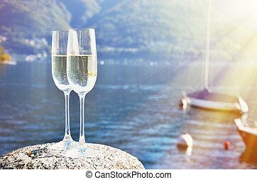 maggiore, suiza, champaña, lago, grapes.