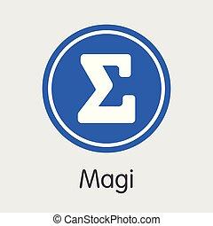 Magi Cryptocurrency - Vector Pictogram. - Magi: Blockchain...