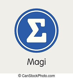 magi, cryptocurrency, -, vector, pictogram.