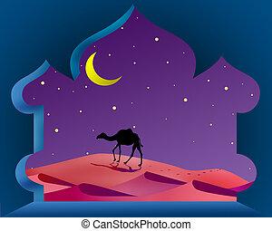 magia, árabe, noche, con, camello