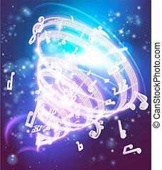 magia, abstratos, musical, música, fundo, notas
