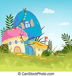 magia, albero, mushrooms., vettore, foresta, fondo, cartone animato, paesaggio