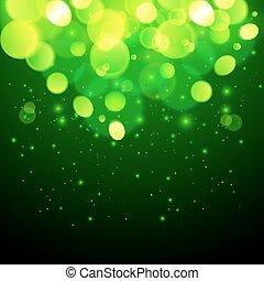 magia, astratto, effetto, bokeh, sfondo verde