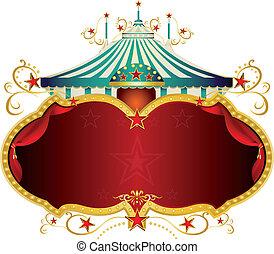 magia, blu, barocco, circo, cornice