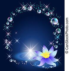 magia, burbujas, lirio