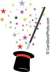magia, cappello, bacchetta, fondo