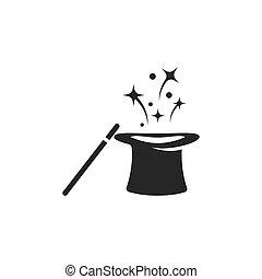 magia, cappello, bacchetta, icona