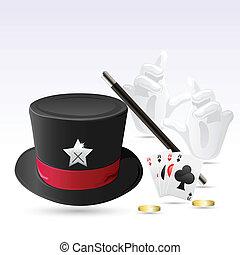 magia, cappello, con, bacchetta