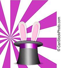 magia, cappello, con, orecchi coniglietto, su, rosa, e, bianco, sunburst, fondo.