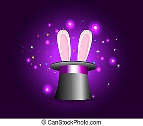 magia, cappello, con, orecchi coniglio, su, viola, misterioso, fondo