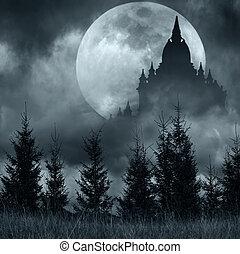 magia, castelo, silueta, sobre, lua cheia, em, misteriosa,...