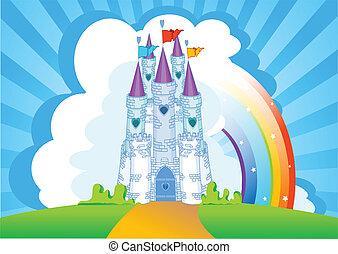 magia, castillo, invitación, tarjeta