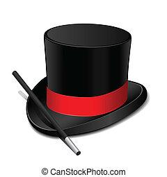 magia, chapéu, com, batuta mágica