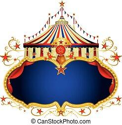 magia, circo, blu, cornice