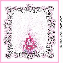 magia, conto fada, convite, castelo, princesa, cartão