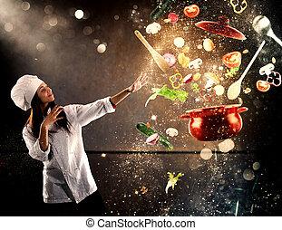 magia, cozinheiro, pronto, cozinhar, um, novo, prato