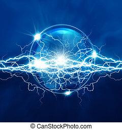 magia, cristal, esfera, con, eléctrico, iluminación,...