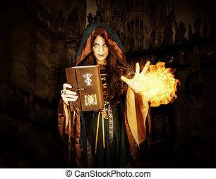 magia, dia das bruxas, mágico, livro, feiticeira, segurando, fazer, soletra