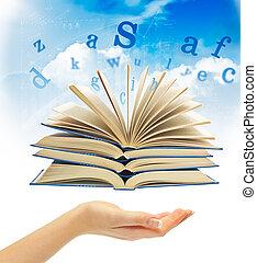 magia, encima, libro, cartas, mano