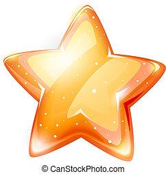 magia, estrela, lustroso, ouro, isolado