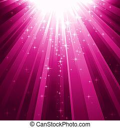 magia, estrellas, descendente, en, haces de luz