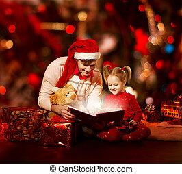 magia, famiglia, apertura, padre, book., bambino, lettura, natale