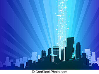 magia, fenomen, &, -, ilustracja, wektor, cityscape