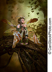 magia, foresta, cg, 3d