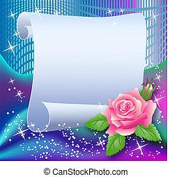 magia, fundo, com, papel, e, rosa