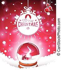 magia, globo, tipográfico, ilustração, neve, vetorial, desenho, feliz, feriado, natal